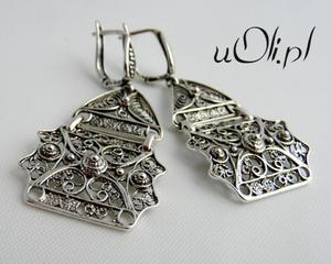 Kolczyki srebro filigran zapięcie angielskie - 2823481066