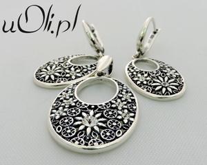 Kolczyki wisior cyrkonia srebro komplet - 2823480426