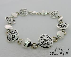 Bransoletka cyrkonia srebro kwiaty - 2823481266