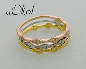 3 pierścionki obrączki cyrkonie srebro złocone r.13 - 2823480652