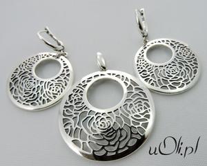 Komplet wisior i kolczyki ażurowe róże srebro