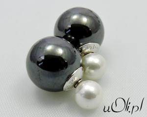 Kolczyki gwiazd kulki perła celebrytki hematyt + perła biała - 2823481128