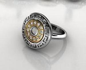 Pierścionek srebro złocone grecka droga - 2823480668