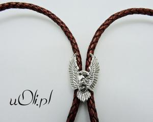 Krawat bolo motyw orła harleyowców srebro 925 bordo - 2823481658