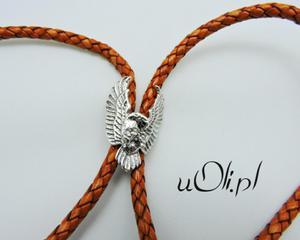 Krawat bolo motyw orła harleyowców srebro 925 brąz - 2823481659