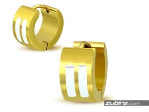 Kolczyki męskie złote z białymi paskami - 2840700711