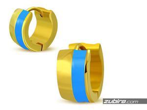 Złoto-błękitne kolczyki męskie - 2840700715