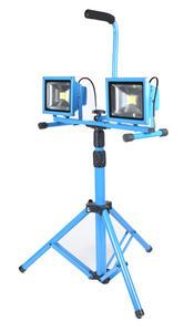 Lampa halogenowa LED 30W niebieska zimne światło z regulowanym stojakiem - 2852651064