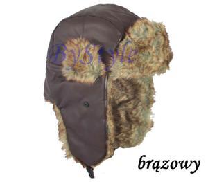 Czapka uszatka z futerkiem zimowa ciepła - 2822285945