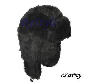 Ciepła czapka futrzana uszatka na zimę - 2822285947