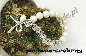 Bransoletka z perłami - kokarda - 2822285980