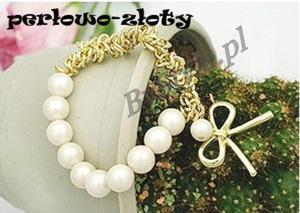 Bransoletka z perłami - kokarda - 2822285981