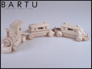 Drewniana kolejka z klockami - 2834216199
