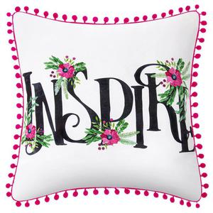 Poszewka Dekoracyjna z Pomponami Kwiaty INSPIRE 45x45 - 2858697363