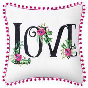 Poszewka Dekoracyjna z Pomponami Kwiaty LOVE 45x45 - 2858697364