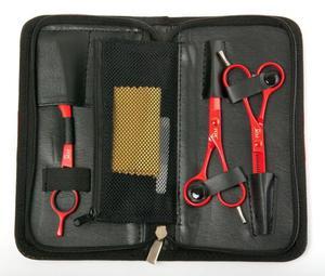 Fox Color Red Zestaw - Zestaw czerwonych nożyczek, degażówek i rezora || Zestaw czerwonych nożyczek - 2824758618
