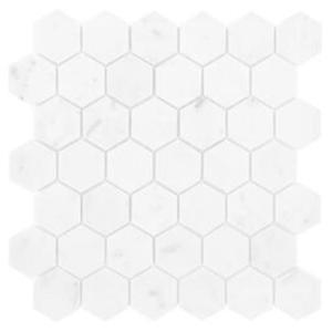 Carrara White Hexagon 48 Mozaika Kamienna 29,8x30,2 - 2876576750