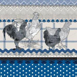 Serwetki do decoupage 33x33cm THE CRY OF RURAL ROOSTER BLUE - 2824731338