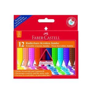 Kredki woskowe trójkatne JUMBO FABER-CASTELL 12 kol. - wymazywalne - 2824734393