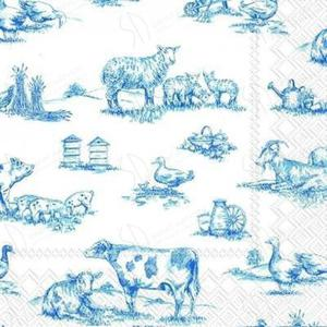 Serwetki do decoupage 33x33cm FARM FAMILY WHITE BLUE - 2824735204