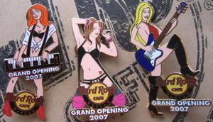 Hard Rock Cafe WARSAW '07 Grand Opening GO Girls Set 3 pin - 2827267092
