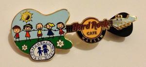 Hard Rock Cafe WARSAW 2013 Nobody's Children Foundation Guitar Gold Pin LE 90 - 2827267297