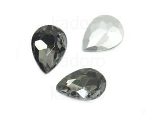 Szklany kamień fasetowany gruszka 14x10mm Silver Night F - 2 sztuki - 2883268910