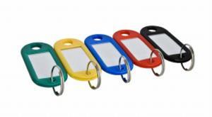 Plastikowe zawieszki do kluczy - opk 100szt kolor NIEBIESKI - 2833519435