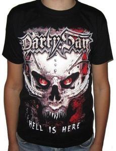 T-shirt rockowy z dwustronnym nadrukiem CZASZKA HELL IS HERE - 2829283635