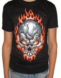 Koszulka z dwustronnym nadrukiem - CZASZKA W OGNIU - 2829283206