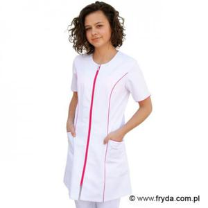 Fartuch damski na zamek biały (różowe lamówki) - 2825427438
