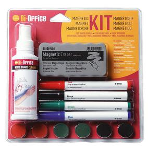 Zestaw do tablic magnetyczny BI-OFFICE, spray, gąbka, 4 markery oraz magnesy - 2829139688