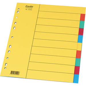 Przekładki kartonowe kolorowe A4 bez karty opisowej. Bantex 5 kolorów - 2829135728