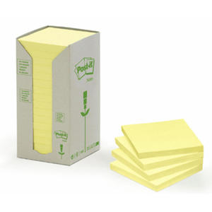 Karteczki ekologiczne samoprzylepne Post-it, żółte. 3M 76 x 76 mm, 16 szt. - 2829137082