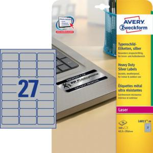 Etykiety znamionowe, srebrne. Avery Zweckform 63,5 x 29,6 mm - 2829137463