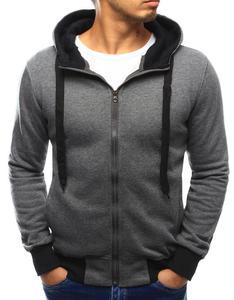 Bluza męska z kapturem rozpinana antracytowa (bx3031) - Antracytowy - 2856325441