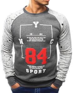 Bluza męska bez kaptura z nadrukiem antracytowa (bx3064) - Antracytowy - 2856325483