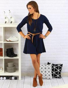 Sukienka Sara z naszyjnikiem granatowa (ey0118) - Granatowy - 2856763351
