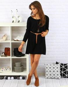 Sukienka Sara z naszyjnikiem czarna (ey0120) - Czarny