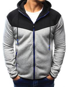 Bluza męska rozpinana z kapturem szara (bx3112) - Szary - 2857439192