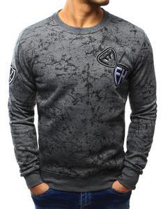 Bluza męska bez kaptura z nadrukiem antracytowa (bx3119) - Antracytowy - 2857439199