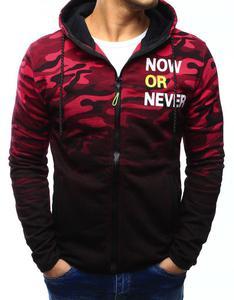 Bluza męska camo rozpinana czarno-czerwona z kapturem (bx3125) - Wielokolorowy - 2857439205