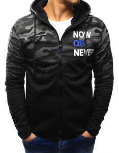 Bluza męska camo rozpinana czarno-grafitowa z kapturem (bx3126) - Wielokolorowy - 2857439206