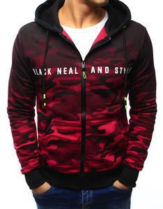 Bluza męska camo rozpinana czarno-czerwona z kapturem (bx3128) - Wielokolorowy - 2857439208
