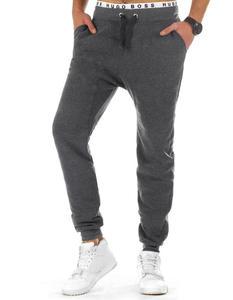 Spodnie męskie dresowe baggy antracytowe (ux0759) - Antracytowy - 2843803657
