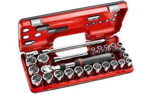 """Klucze nasadowe Facom 1/2"""" z grzechotką przedłużaną 25 szt. 8-32mm Facom SXL.DBOX2 - 2850408016"""