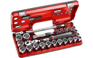 """Klucze nasadowe Facom 1/2"""" z grzechotką przedłużaną z blokadą 25 cz 8-32 mm Facom SXL.DBOX3 - 2850408017"""