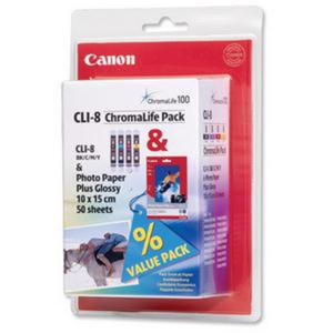 oryginalny multipack Canon CLI-8CMY + papier photo 10x15 / 50 arkuszy - 2824389658