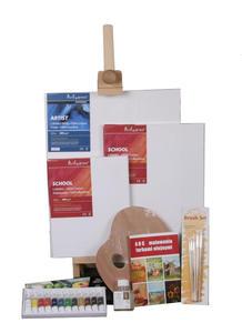 Zestaw z farbami olejnymi i sztalugą stołową - 2428998633