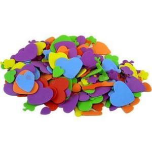 Kolorowe kształty z pianki eva - SERCA I KWIATY - 250 szt - 2428999172